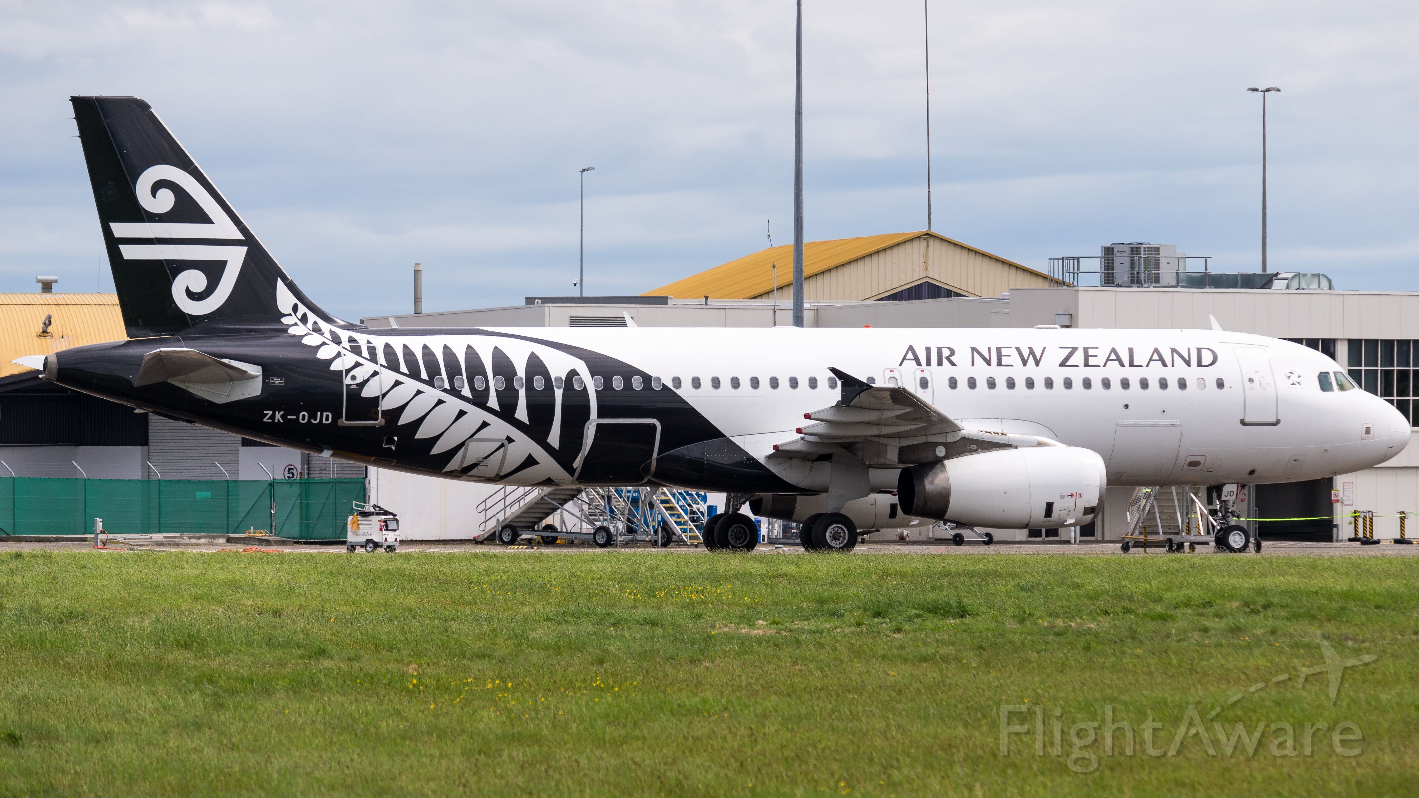 Airbus A320 (ZK-OJD) - ZK-OJD on the ground at Palmerston North after diverting from Wellington. A little bit of a rare sight to see an A320 at Palmerston North.