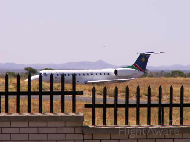 Embraer ERJ-135 (V5-ANG) - Air Namibia EMB-135ER V5-ANG a few seconds after touchdown on rwy 26 WDH, almost very fast in landing roll. 08.10.2011.
