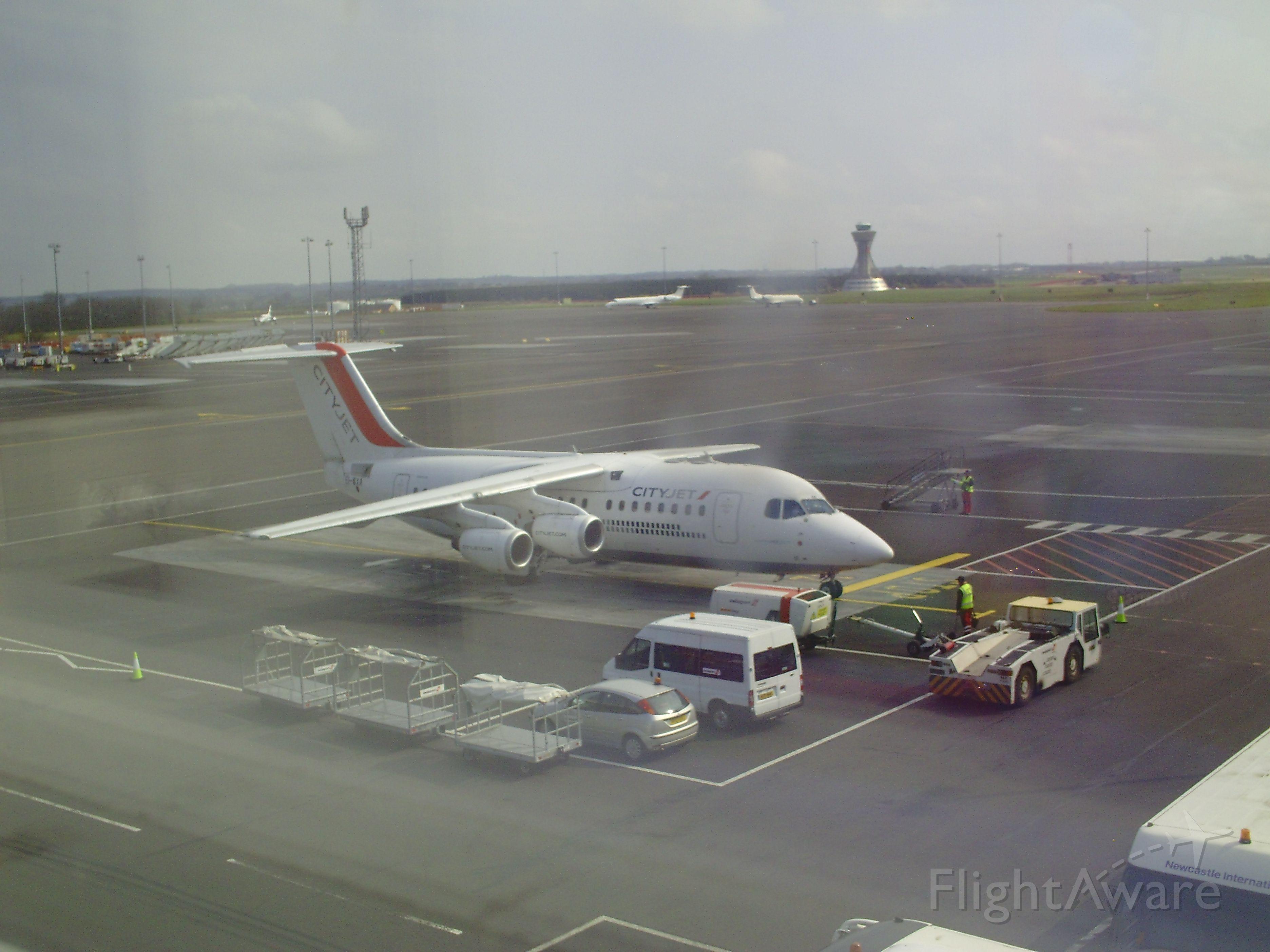 Avro Avroliner (RJ-85) (EI-WXA) - Taken from the departure lounge at NCL - 20/04/2014