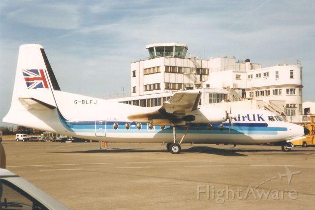 FAIRCHILD HILLER FH-227 (G-BLFJ) - Seen here in Jul-90.br /br /Registration cancelled 6-Jan-97. Broken up at EGSH.