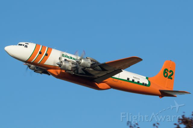Douglas DC-7 (N401US) - Departing for the Redwood Highway Fire in Selma, OR.