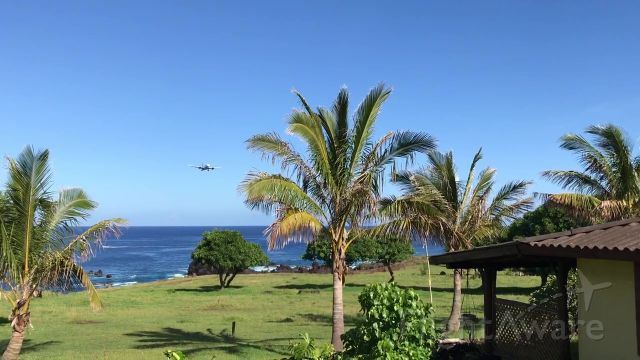 — — - On final, eastbound arrival at Mataveri International Airport, Easter Island.