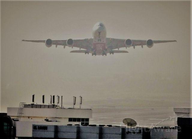 Airbus A380-800 (A6-EDD) - T/O in a dust storm. DXB 6-15-2009