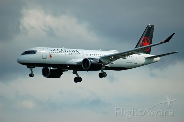 C-GXJW — - 2020 Airbus A220-300 (or Bombardier CS300) as flight AC116 on final approach at runway 06L (July 23, 2020)