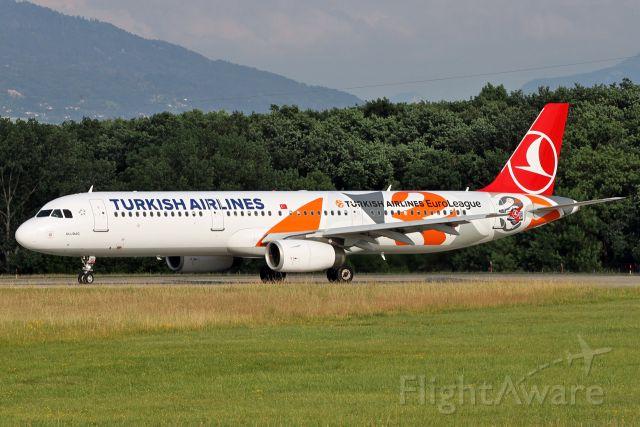 "Airbus A321 (TC-JRO) - ""EuroLeague"" special colors."