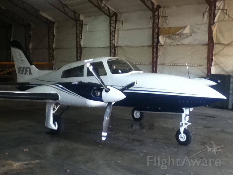 Cessna 310 (N80FA) - In the hangar.