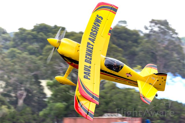 PITTS Special (S-1) (VH-PVB) - Paul Bennet perfoms a low pass knife edge at Tyabb Airshow 2016