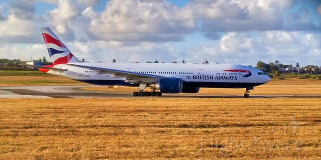 Boeing 777-200 (G-VIIY) - Taking off from TBPB