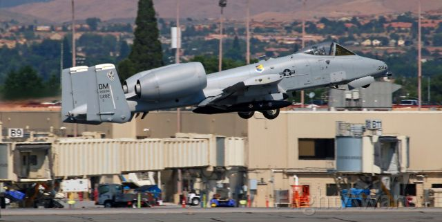 """Fairchild-Republic Thunderbolt 2 (79-0202) - Major Tyler """"Leeroy"""" Schultz (West Coast A-10 Demonstration Team, 355th Operations Group, 355th Fighter Wing, Davis-Monthan AFB, Tucson, AZ -- KDMA) pilots """"Hawgtail One,"""" his Fairchild-Republic A-10 Thunderbolt II -- the """"Warthog,"""" away from runway 34L after making a brief refueling visit."""