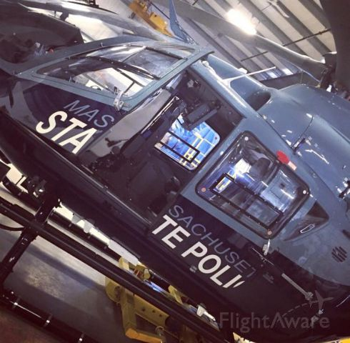 — — - MA State Police Helicopter in the hanger at PYM.