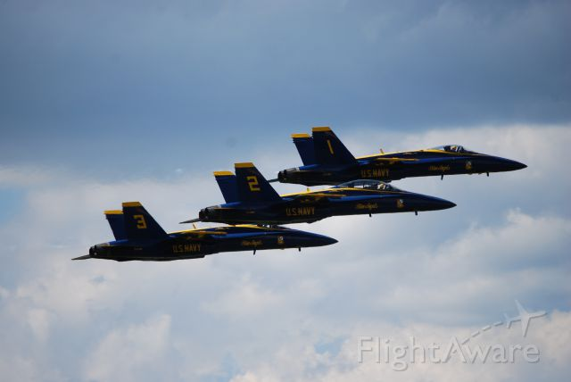 — — - Westmoreland Air Show 2017 at Arnold Palmer Regional Airport in Latrobe, PA.br /Blue Angels F-18s #1, 2, 3.