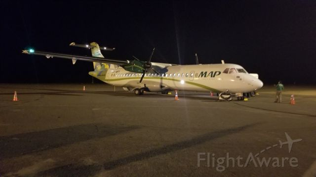 ATR ATR-72 (PR-MPY) - This was our ATR-72 just after we landed in the middle of the Amazon rain forest (Porto Trombetas - TMT) at 2:00 A.M.