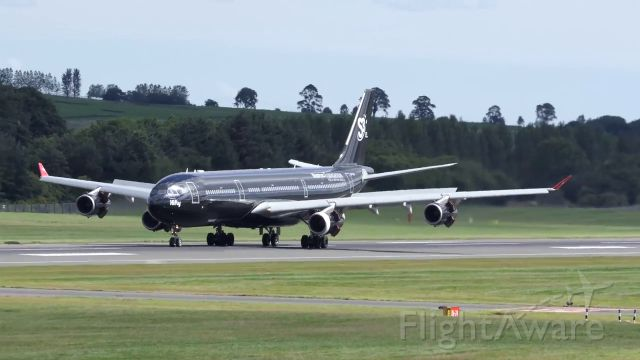 "Airbus A340-300 (9H-TQM) - HiFly Malta ""Black Beauty"" landing at Edinburgh RW24"
