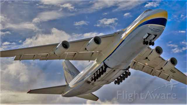 Antonov An-124 Ruslan (UR-82008) - A Russian giant seen departing St Maarten.
