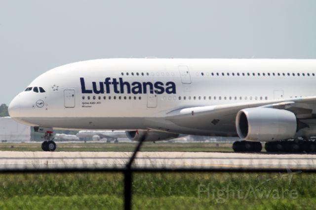 Airbus A380-800 (D-AIMB) - First Airbus A380 to land in Texas.  Taken August 1, 2012 at KIAH.