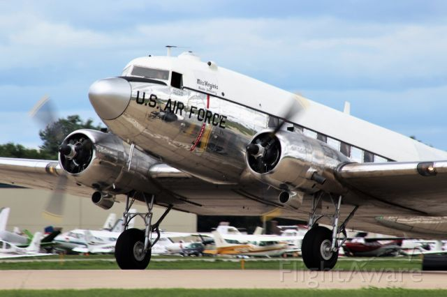 Douglas DC-3 (N47E) - Miss Virginia on the take-off roll at Oshkosh 2018.  <br /><br />Beats spraying for gypsy moths on previous assignments.