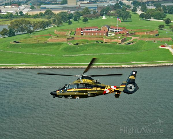 VOUGHT SA-366 Panther 800 (N79MD) - A Maryland State Police AS-365 Dauphin 2 near Fort McHenry, Maryland.