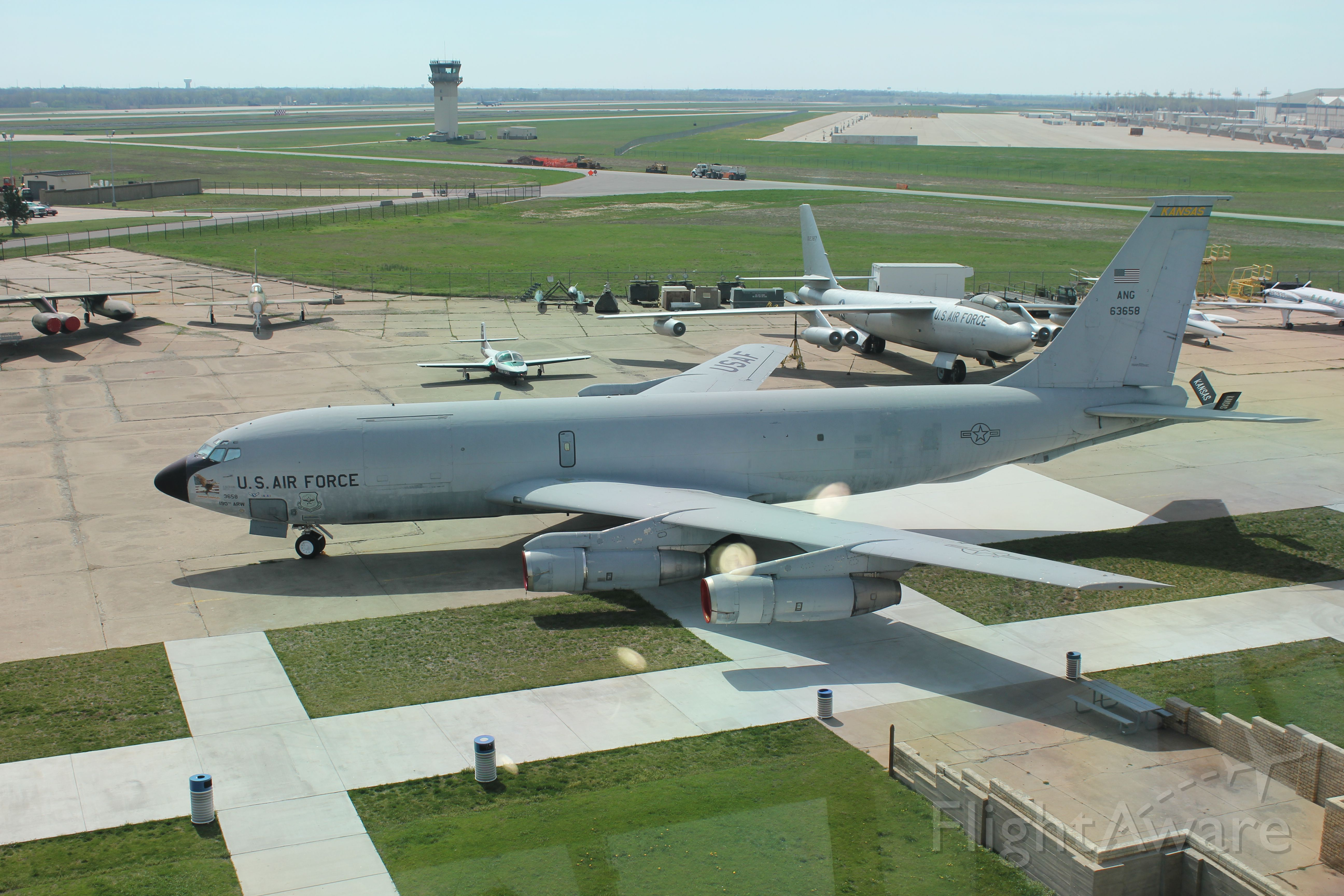 Boeing C-135FR Stratotanker (56-3658) - View from the tower at the Kansas Air Museum in Wichita.