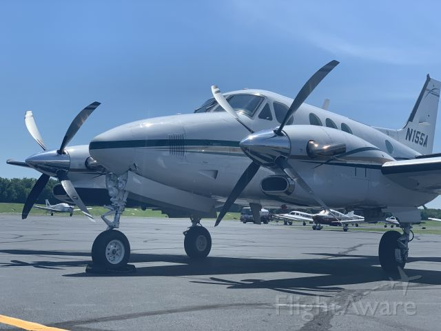 Beechcraft King Air 90 (N155A) - On the ramp at Hartford Jet Center.