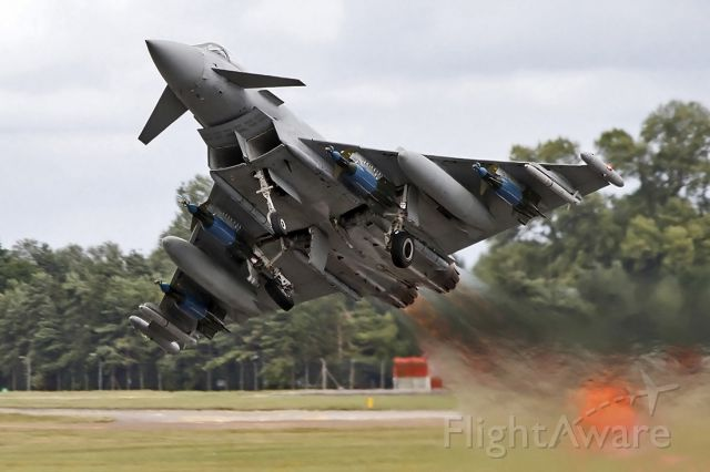 ZJ700 — - Air-side image of RAF Eurofighter EF-2000 Typhoon FGR4 ZJ700 [cn.0034/PS002/IPA5]. Pedal-to-the-Metal short takeoff. ZJ700 with Unit QinetiQ, seen here at RAF Fairford.