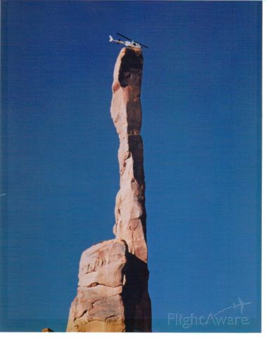 """N855B — - The """"Totem Pole"""", Monumet Valley, AZ.  The last helicopter allowed to land by the Navajo Indian Tribe.  Two guys got out!"""