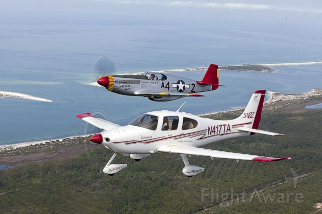 Cirrus SR-22 (N417TA) - Formation with Red Tail P-51C