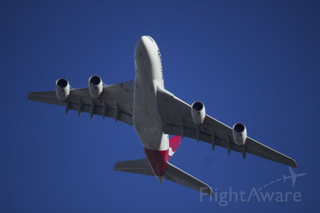 Airbus A380-800 (VH-OQH) - Standing on my balcony as QF11 heads to LAX.