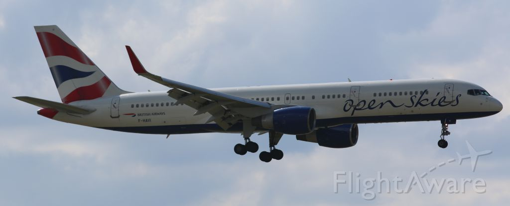 Boeing 757-200 (F-HAVI) - Open Skies livery on BAW 757-200, final approach to Newark Liberty, 8/17/14
