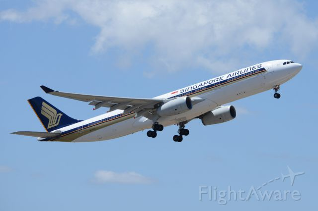 Airbus A330-300 (9V-STA) - Getting airborne off runway 23 and heading home to Singapore. Wednesday 29th October 2014.