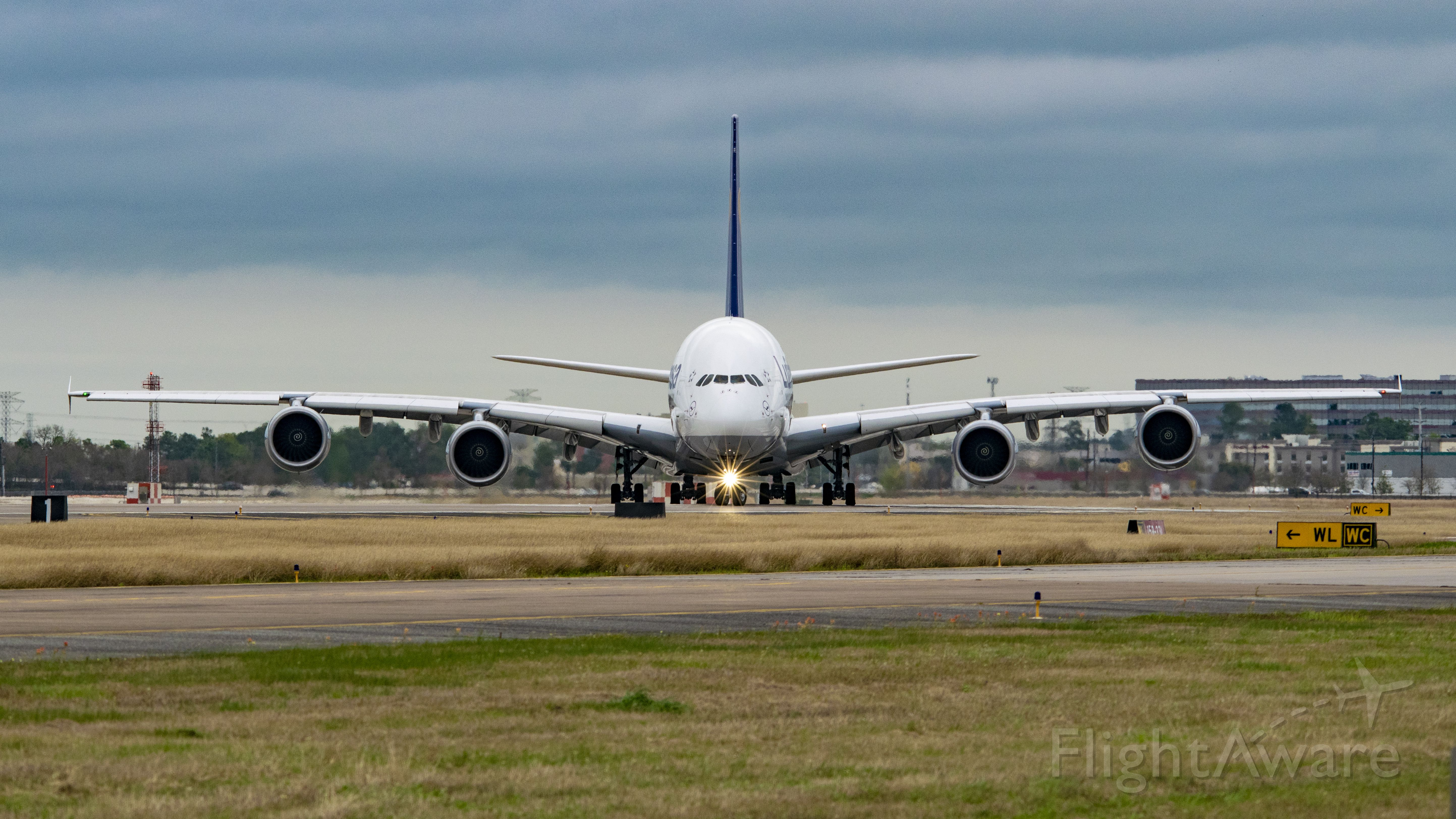 Airbus A380-800 (D-AIMK) - Lufthansa A380-800 entering runway 33L KIAH for departure