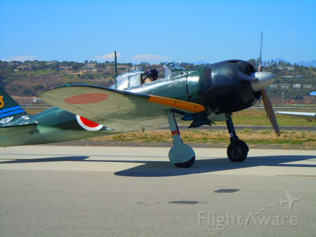 Mitsubishi A6M Zero — - Japanese Zero taxiing at Camarillo airport airshow 8/21/10 (Very rare and real except for the American engine and prop)