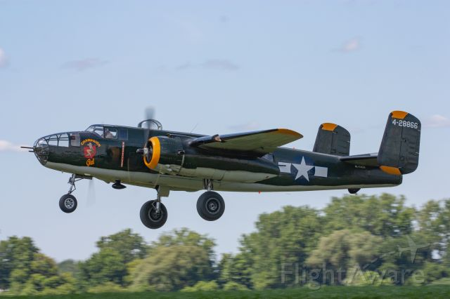 """North American TB-25 Mitchell (NL744CG) - Champaign Aviation Museum's North American B-25J Mitchell """"Champaign Gal"""" takes off at The Greatest Show on Turf 2019 in Geneseo, NY"""