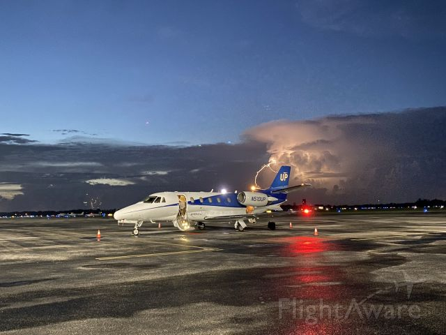 Cessna Citation Excel/XLS (N510UP) - July 4th.  Storm was just north of airport.