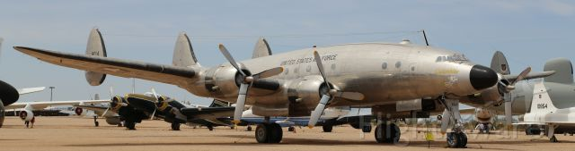 Lockheed EC-121 Constellation (48-0614) - Pima Air & Space Museum, Tucson, AZ, 21 Apr 18.  More from their website:<br /><br />Manufacturer: LOCKHEED<br />Markings: 7167th Special Air Missions Squadron, Wiesbaden Air Base, Germany, 1951<br />Designation: C-121A<br />Serial Number: 48-0614<br /><br />LOCKHEED C-121A CONSTELLATION<br />After the commercial success of the L-049 Constellation, Lockheed produced a slightly improved version designated L-749. This aircraft attracted the attention of the U.S. Air Force, which bought ten of them for long-range VIP transports and designated them VC-121A. The new transports proved to be very popular and regularly carried high-ranking Generals and Presidents.<br /> <br />Dwight D. Eisenhower had two different VC-121As assigned as his personal transports at different times. This aircraft was the first. It served him during his time as the SHAPE commander in the early 1950s. All of Eisenhower
