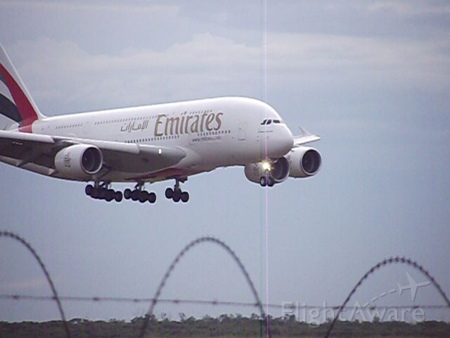Airbus A380-800 (A6-EEK) - First Shot Commercial A380 Landing in Brisbane