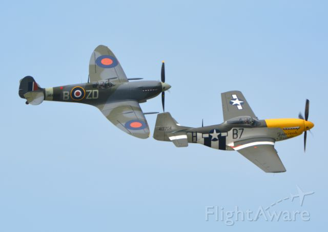 MULTIPLE — - Supermarine Spitfire and North American Mustang at Goodwood on 11 Sep 2015