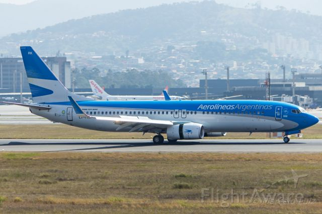 Boeing 737-800 (LV-FRK) - Aerolineas Argentinas - Boeing 737-8BK<br />Registration: LV-FRK<br /><br />Buenos Aires (AEP) / São Paulo (GRU)<br /><br />Foto tirada em: 25/06/2016<br />Fotografia: Marcelo Luiz