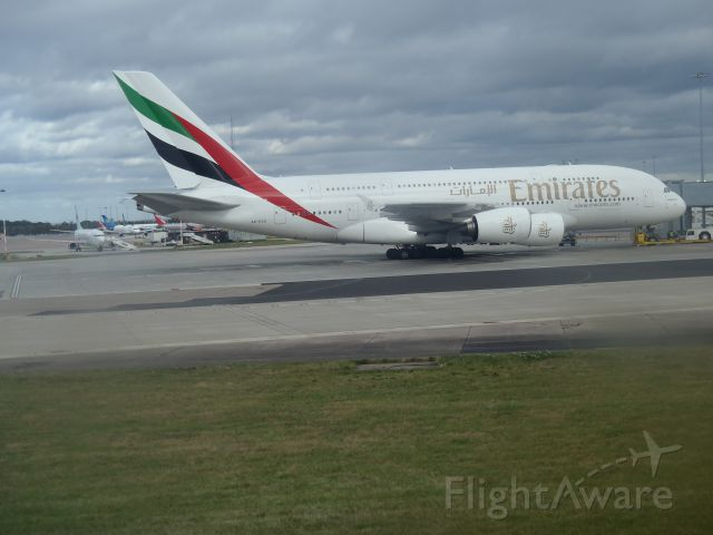 Airbus A380-800 (A6-EDO) - Taxiing out to runway 23R