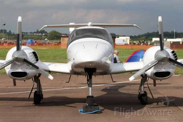 — — - The very cool looking, Diamond DA42 Twin Star, latest variants powered by Diesel Engines.
