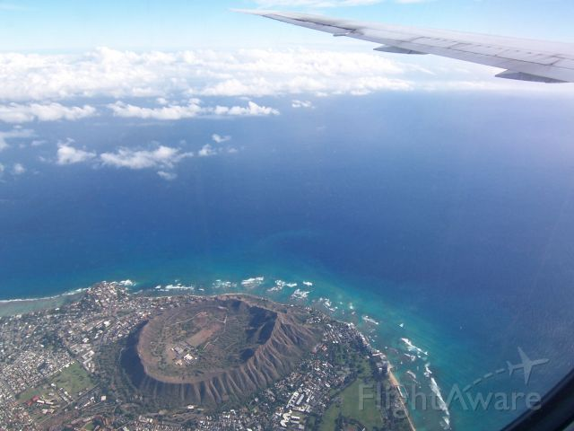 BOEING 767-400 — - Flying over Diamond Head, Hawaii at approx. 5,000 feet on approach to PHNL