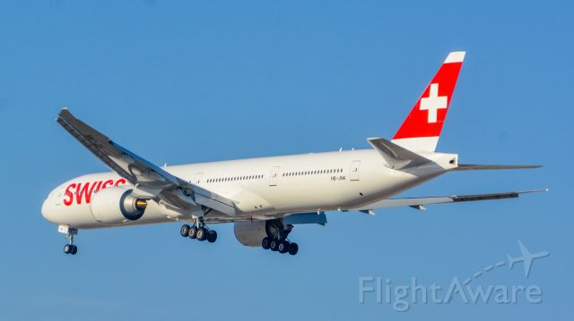 BOEING 777-300ER (HB-JNK) - swiss 777 landing in TLV, this plane was in his first flight into TLV
