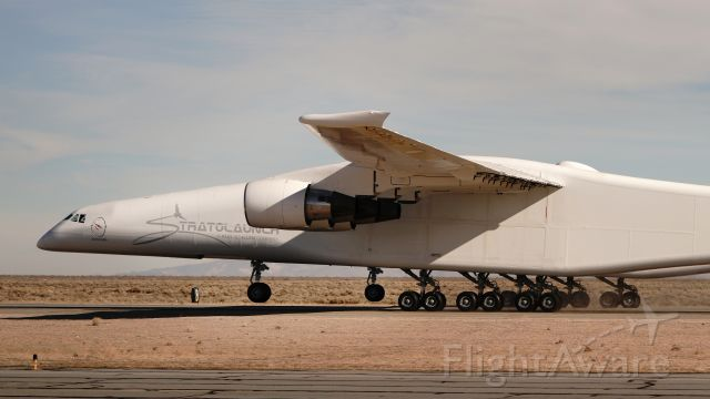 Eurocopter AS-350 AStar (N351SL) - Stratolaunch with its nose wheels off the ground during January 2019 high-speed taxi testing.