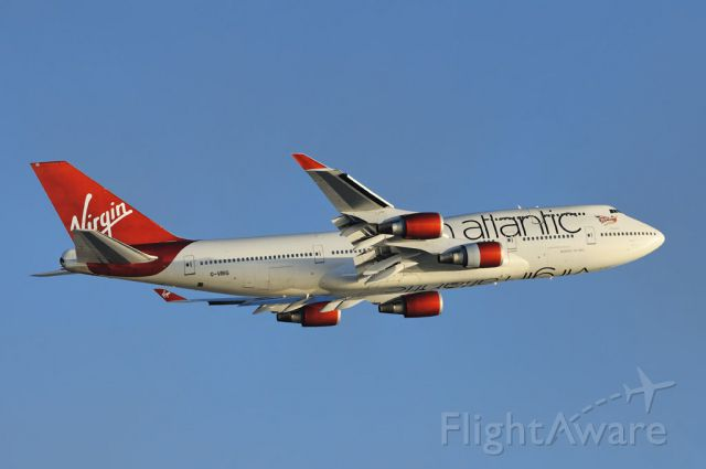 """Boeing 747-200 (G-VBIG) - Virgin Atlantic's """"Tinker Bell"""", a Boeing 747-400 series jumbo, gaining altitude after departure from the Los Angeles International Airport, LAX, Westchester, Los Angeles, California"""
