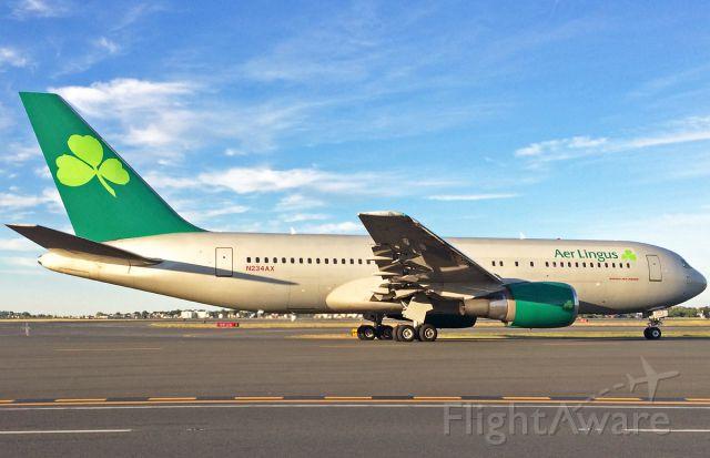 BOEING 767-200 (N234AX) - Newly painted Shamrock operated by Omni Air @ KBOS Logan B767-200ER