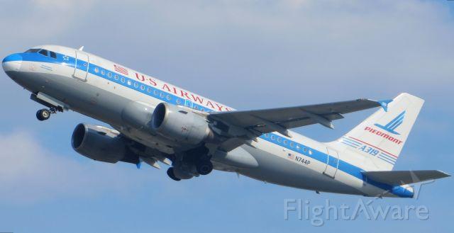 """Airbus A319 (N744P) - US Airways A319 """"Piedmont Heritage""""  9/16/13"""