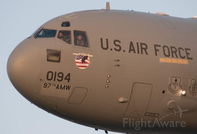 "Boeing Globemaster III — - Air Force cargo Heritage flight practice over Houston, TX. Shot from AC-47 ""Spooky"" Gunship"
