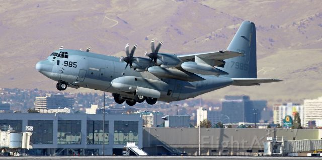 """Lockheed C-130 Hercules (16-7985) - A VMGR 352 """"Raiders"""" KC-130J Hercules is on the climb during an afternoon departure.  VMGR 352 (Marine Aerial Refueler Transport Squadron 352) is part of MAG 11, 3rd Marine Air Wing, and is based at MCAS Miramar."""