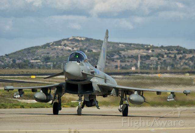 EUROFIGHTER Typhoon — - RAF Eurofighter ZK316 taxiing for take off in Athens after crew rest stop.