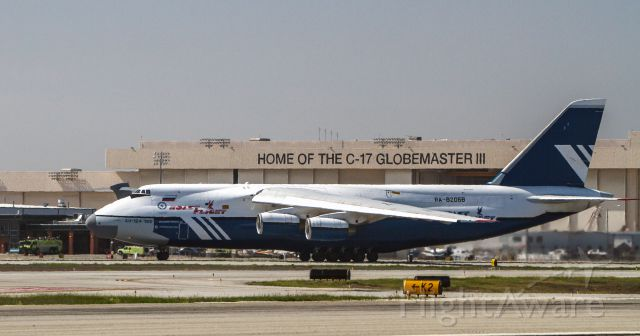 — — - Polet Airlines Antonov An 124 departing RY 12 at Long Beach on Feb 21, 2014