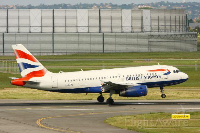 Airbus A319 (G-EUPJ) - Airbus A319-131, Landing Rwy 14R, Toulouse-Blagnac Airport (LFBO-TLS)